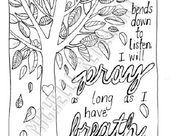 Bible Verse Coloring Page: Zephaniah 3.17 Digital Instant