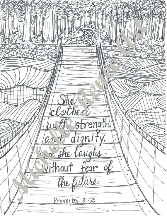 Bible Verse Coloring Page: Proverbs 31.25 Digital Instant Etsy