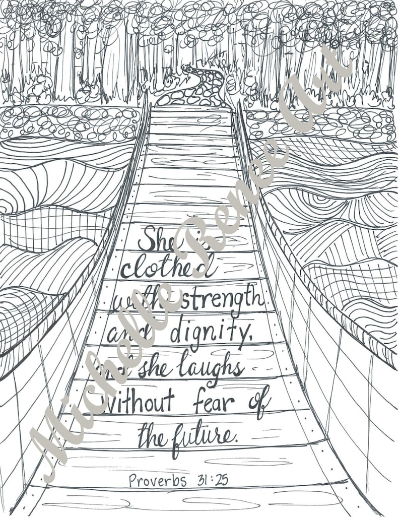 Bible Verse Coloring Page Proverbs 31 25 Digital Instant Etsy