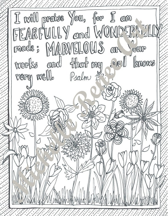 Bible Verse Coloring Page Psalm 139 14 Digital Instant Etsy