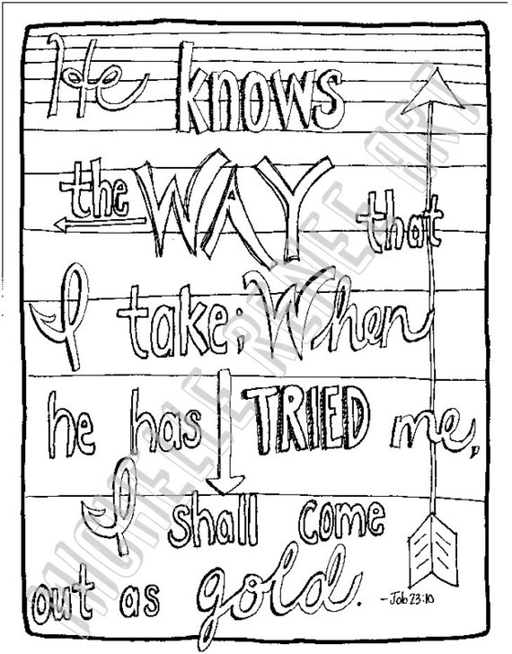 Bible Verse Coloring Page Job 23 10 Digital Instant Download