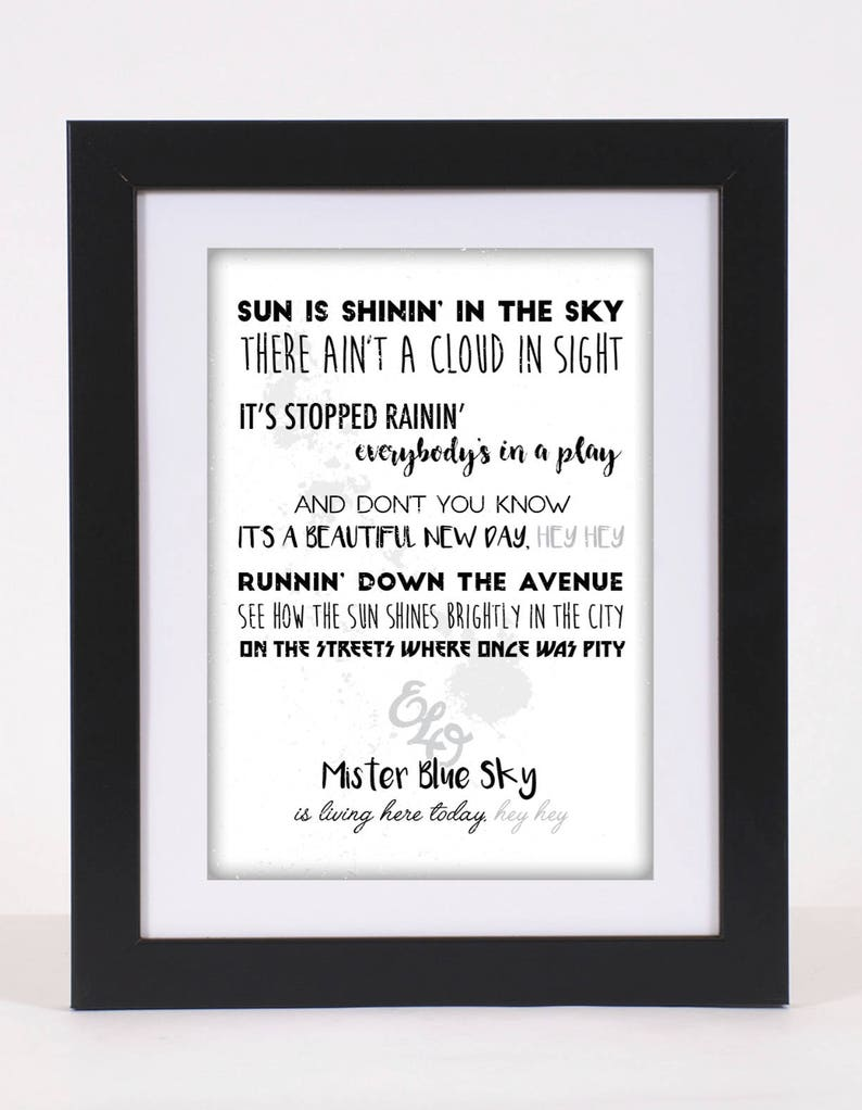 ELO 'Mr Blue Sky' Printed Lyrics Poster - A4 / A3 / Framed / Decor / Print  / Rock / Different Colours