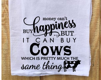 Tea Towel, Flour Sack Towel, Dish Towel,Housewarming Gift,Funny Dish Towel,Hostess Gift, Farm House Decor, Cow Lover, Cow Decor