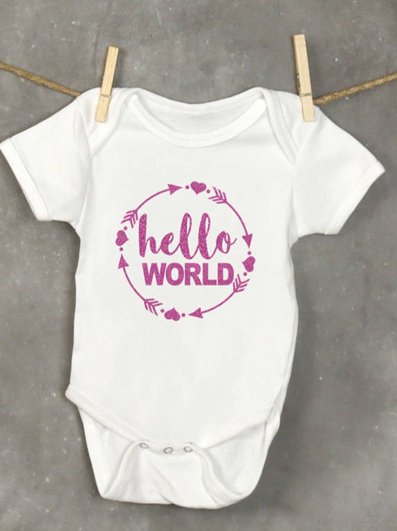 832bd4fe Hello World Baby Bodysuit Glitter Baby Girl Bodysuit New | Etsy