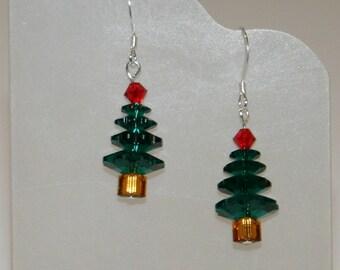 Swarovski crystal christmas tree earrings Green