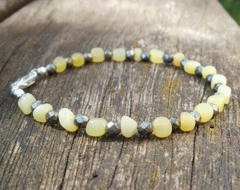 Peridot and Iron Pyrite bracelet with sterling silver clasp