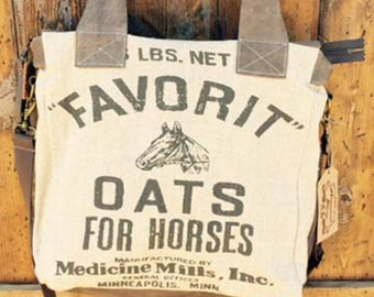 Favorit Oats Convertible-crossbody/handbag-Vintage burlap sack design Linen & Leather bag