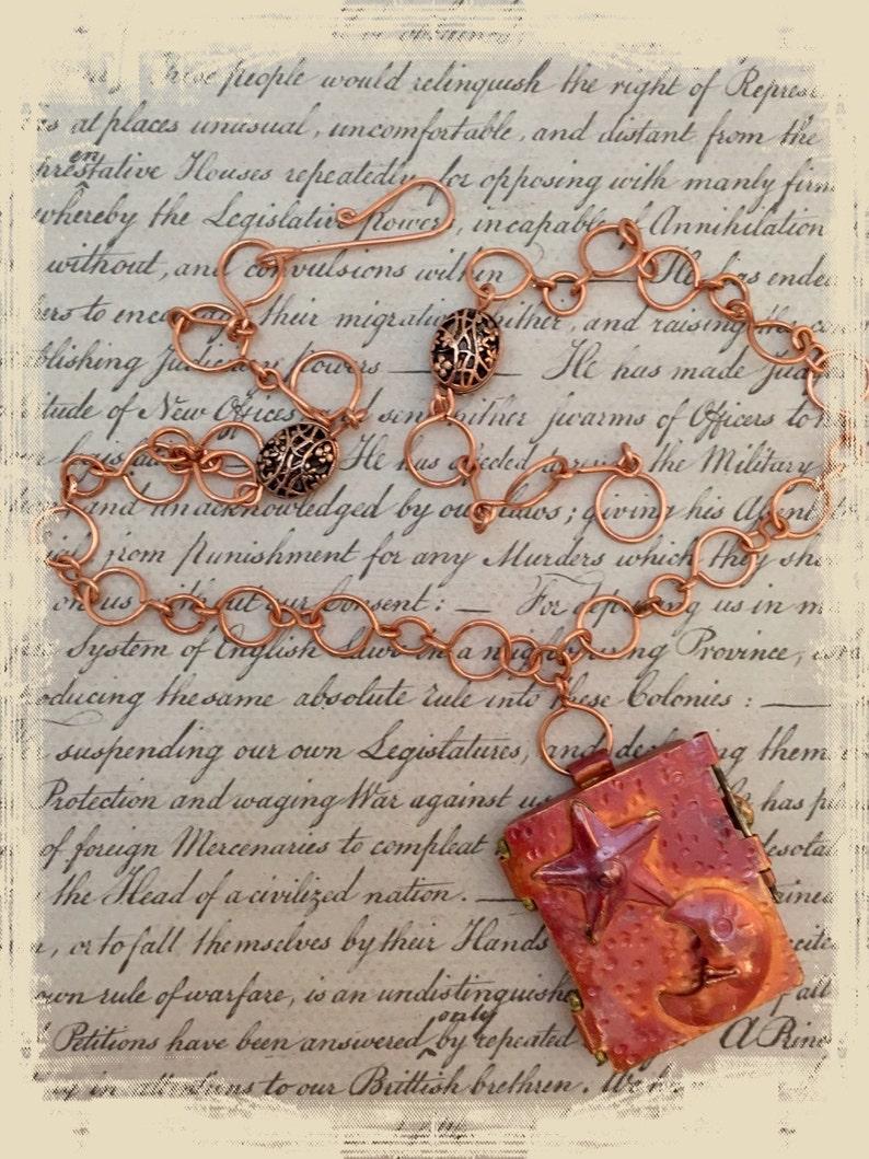 Copper locket pendant necklace