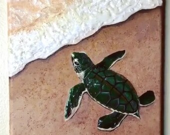 Original Sea Turtle Mixed Media Artwork - Sand, Molding Paste, Acrylic Paint, and Gloss Medium - From the Endangered Species Series
