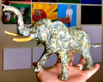 Original Money Elephant Statuette - Collaged with small print outs of 100 dollar bills - Gold Metallic Paint Details - Upcycled Animal Toy