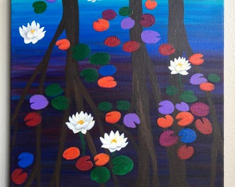 Original American Lotus and Water Lily Acrylic Painting - From the Endangered Species Series