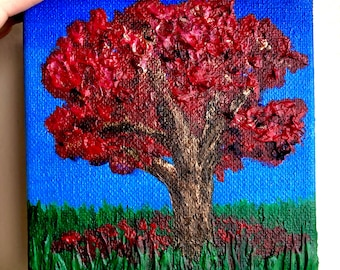 Original Maple-Leaf Oak Tree Fall Landscape Painting