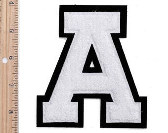 """4-1/2"""" Chenille Stitch Varsity Letters, Iron-On Patch by pc, White/Black, TR-11648"""