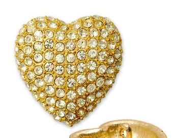 20mm Rhinestone Heart Button with Shank, Crystal/Gold, 1 pc, T5006