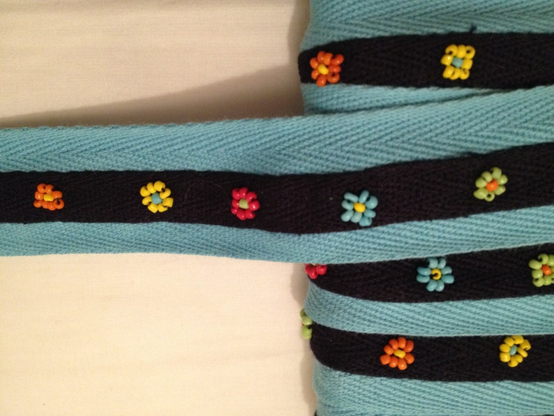 Indian Beads SP-2821 1-14 Coral 32mm Blue Mexican Bead Design Beaded Trim on Twill Tape by 3-Yards