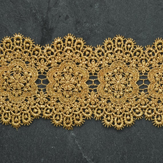 LP-MX-3282 Costume or Jewelry 2 Inch by 1 Yard Metallic Gold Lace Trim for Bridal Crafts and Sewing