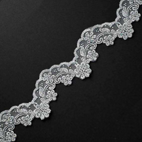 Strass bordure en dentelle métallique, couture, de l'artisanat et de couture, métallique, 2-1/4 pouce par 1 Yard, LP-684ST 8c9924