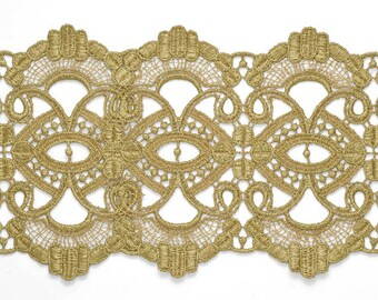 """4-3/8"""" GOLD Metallic Thread Lace Trim for Bridal, Costume or Jewelry, Crafts and Sewing by yard, TR-11267"""