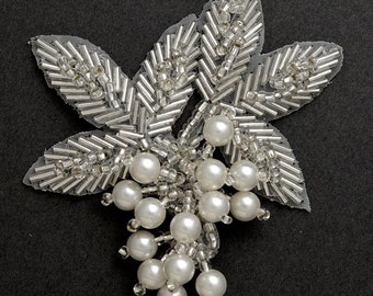 "Pearl Beaded Applique, Bridal Applique by 1pc, 3-1/4""W x 3-1/2""H, FF-03"