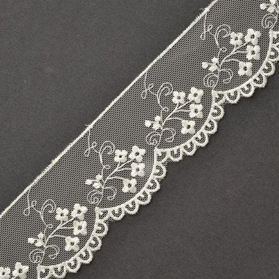 STEP-3849 RED Flower Embroidered Tulle lace Trim 1-3//4 Inch by 1 Yard