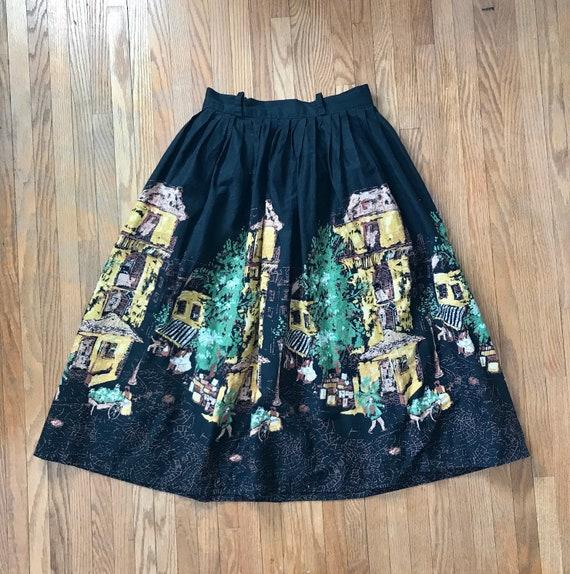 1950s Cotton Border Print Skirt - Scenic Villa Pri