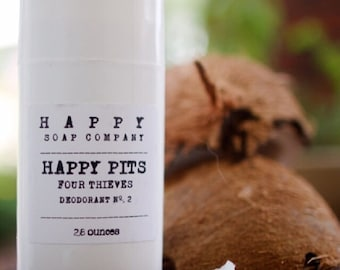 HAPPY PITS.  DEODORANT.  All Natural Deodorant. Aluminum Free, Palm Free, 2.8 oz