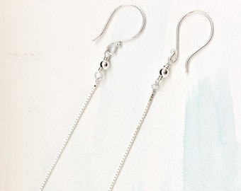 Silver Box Chain Earrings - Minimal Box Chain Earrings - Silver Box Chain dangles - Silver Drop Earrings - Silver Box Chain Long Earrings
