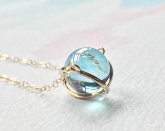Aqua aura necklace etsy aqua aura necklace aqua aura sphere necklace aqua aura gemstone necklace aloadofball Images