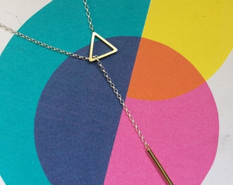 Lariat Necklace - Y Necklace - Geometry Lariat Necklace - Triangle Lariat Necklace