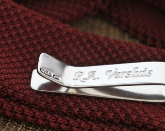 Personalised Minimalist Sterling Silver Tie Clip for Him