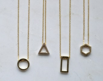 Geometry Necklace - Casted Raw brass Circle, Rectangle, Hexagon, Triangle charms