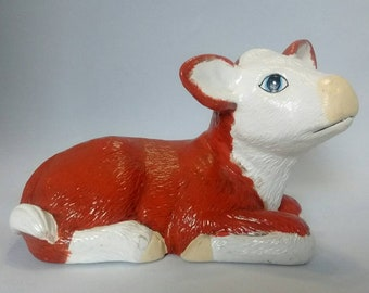 Vintage Hand Painted Ceramic Cow Hereford Cow Red and White Cow