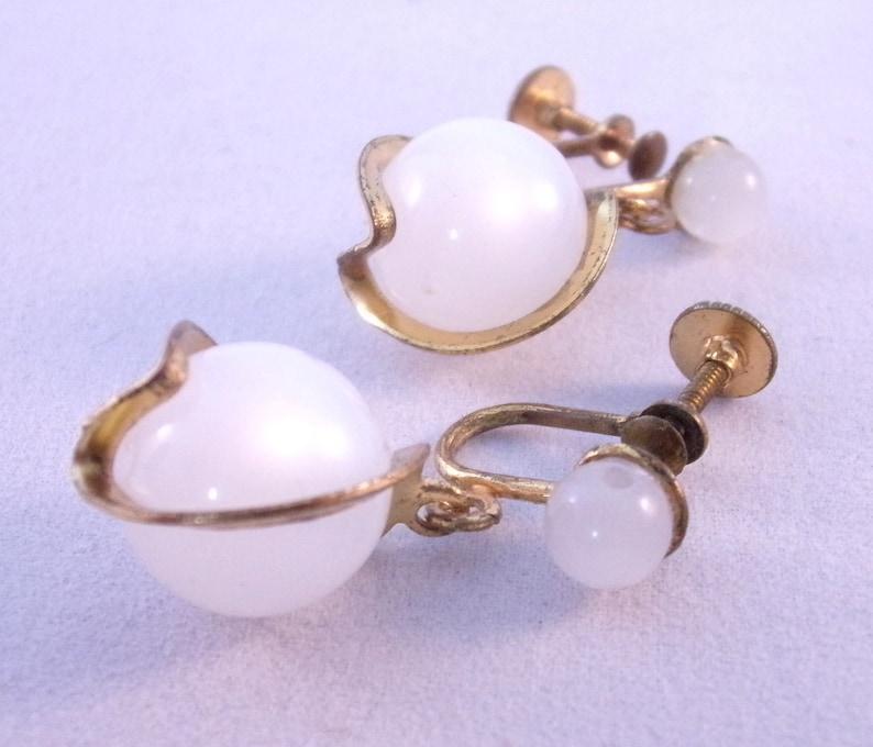 Vintage 1950/'s Caged Strew Back Earrings Iridescent Lucite floating Ball Earrings Mid Century Earrings Christmas Gift