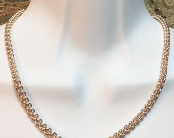 Sterling silver, rose gold and yellow gold Chainmaille Jens Pind Linkage (JPL 3) tri-metal neclace chain