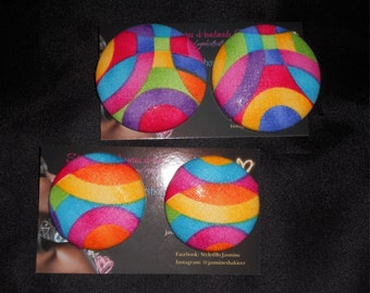 Rainbow Art Deco Button Earrings