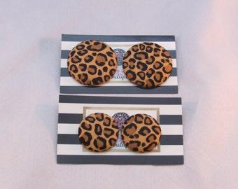 Dark Leopard Print Oversized Button Earrings