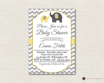 Grey and yellow elephant baby shower invitation you print yellow and gray elephant baby shower invitation baby shower invitation elephant baby shower invitation gender nuetral editable diy filmwisefo