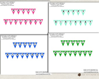 Happy Birthday Cake Topper Bunting Banner Multiple Colors INSTANT DOWNLOAD