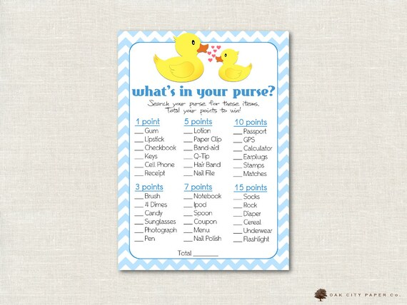 graphic relating to Rubber Ducky Printable identify Rubber Ducky Whats in just Your Purse Shower Sport - Whats Within just Your Purse Youngster Shower Recreation, Printable Child Shower Online games, Ducky - Printable, Do it yourself