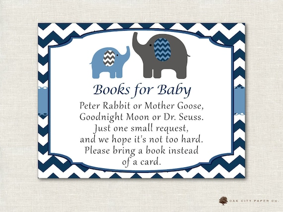 50 blue elephant books for baby shower request cards invitation