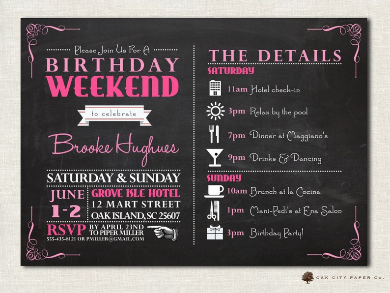 Birthday Party Invitation with Itinerary - Birthday Weekend Invitation,  Girls Weekend, Chalkboard Invitation Template - Printable