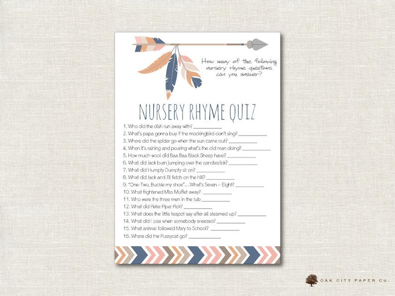 Tribal Nursery Rhyme Quiz Baby Shower Game - Tribal Nursery Rhyme Baby  Shower Game, Printable Baby Shower Games, Tribal, Printable, DIY