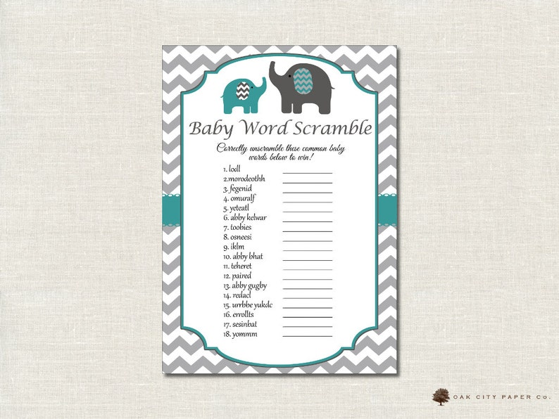 graphic about Baby Shower Word Scramble Printable named Boy or girl Shower Term Scramble - Elephant Concept, Boy or girl Shower Boy or girl Term Scramble Recreation, Child Phrase Scramble, Printable, Do it yourself