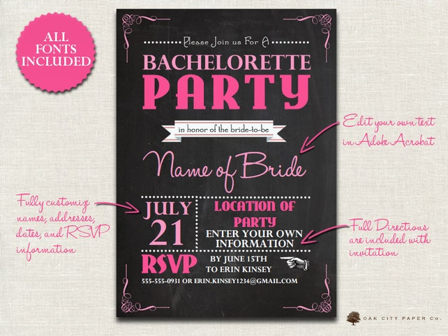 Bachelorette Invitation Chalkboard Themed Bachelorette Party   Etsy