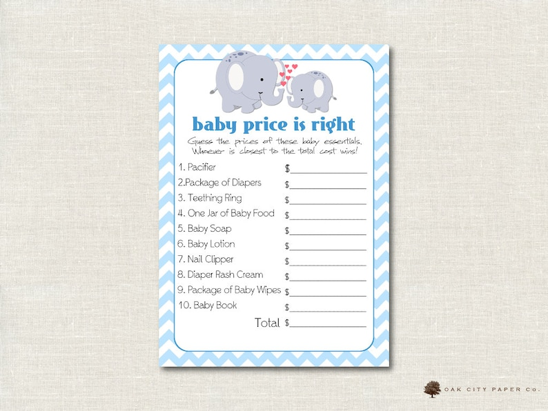 cd77147b98c5d Elephant Price is Right Baby Shower Game - Elephant Theme, Baby Shower  Price is Right, Baby Price is Right, Price is Right Game, Printable