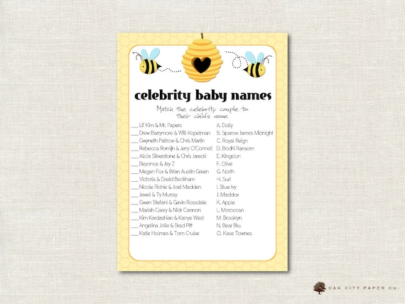 photo regarding Celebrity Baby Name Game Printable known as Honey Bee Movie star Child Shower Recreation - Bee Celeb Boy or girl Status Activity, Movie star Child Standing Quiz, Superstar Boy or girl Activity Recreation, Printable, Do-it-yourself