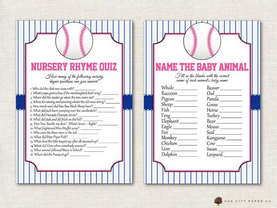 Baseball Baby Shower Games Baseball Shower Games Softball Etsy