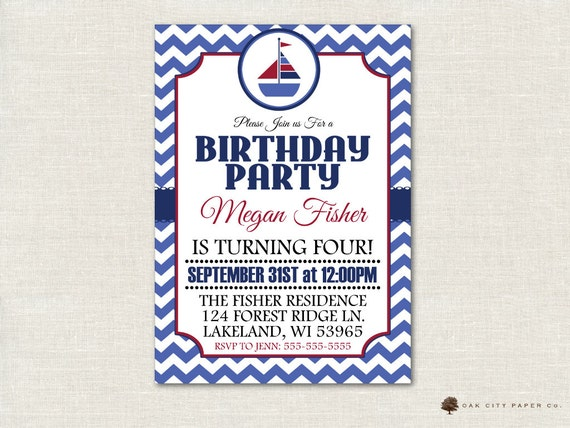 Nautical Birthday Invitation Party