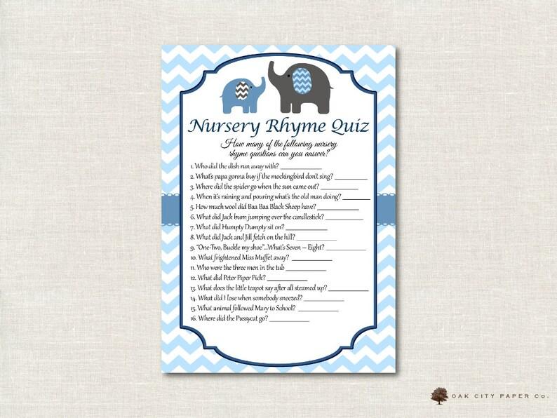 éléphant Comptine Bébé Douche Jeu De Quiz Baby Blue Elephant Etsy