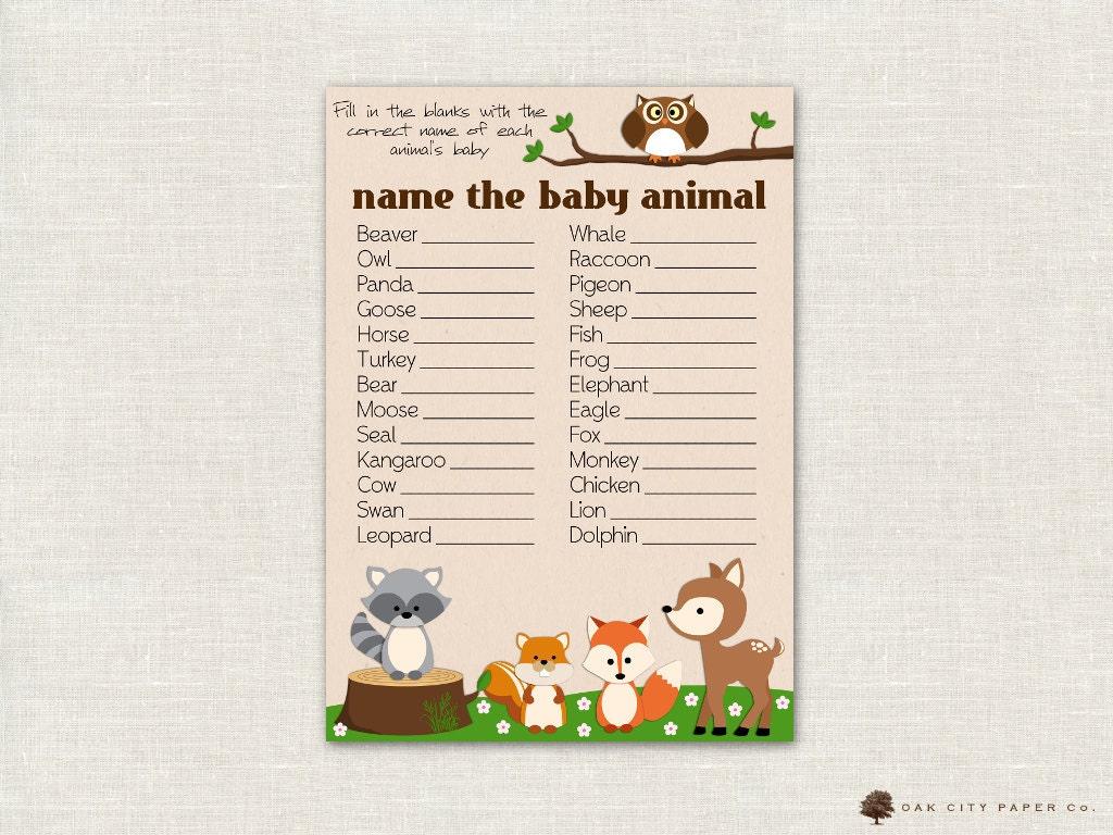 Name The Baby Animal Baby Shower Game Woodland Animal Theme Etsy
